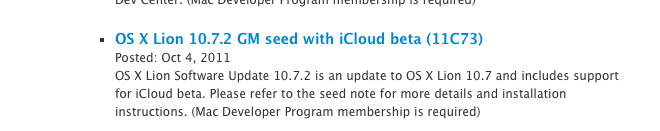 Apple seeds OS X Lion 10.7.2 GM 11C73 with iCloud to developers