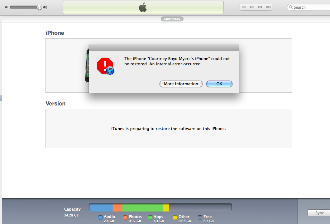 Error message when updating itunes