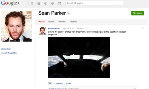 SeanParkerGooglePlus 520x311 Sean Parker uses Google+ too
