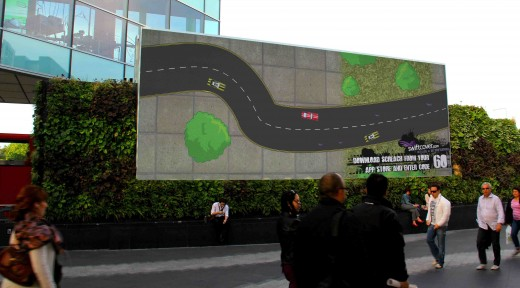 SwiftCover1 520x288 London mall gets big screen multiplayer driving game you control with your phone
