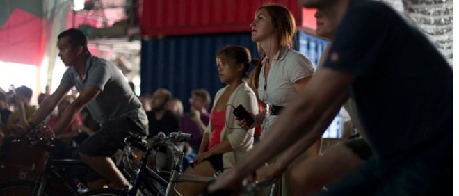 How's this for a night out? A pedal-powered movie experience where you cycle to watch