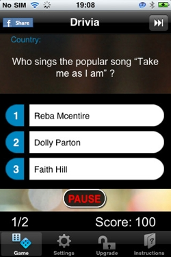 d2 Sleepy driver? Drivia for iPhone keeps you awake with voice controlled quizzes