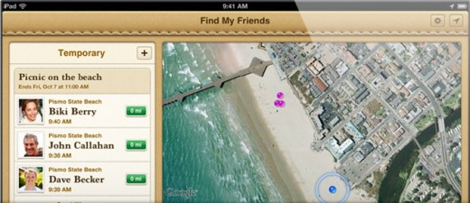 findmy friends sharing 520x225 Apples Find My Friends app now available