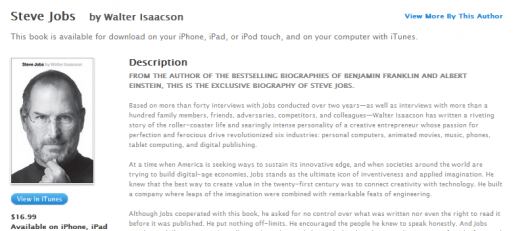 ibooks release jobs biography 520x231 Kindle users getting theirs hands on Steve Jobs biography NOW (update: now available in iTunes too)