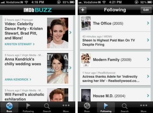 imdb buzz 1 520x384 IMDb Buzz serves up the latest in entertainment gossip and news on the iPhone