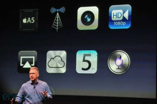 iphone5apple2011liveblogkeynote1560 520x345 Apple announces iPhone 4S: Same design, GSM/CDMA, A5 chip, 7x faster graphics, 8MP, 1080p Video