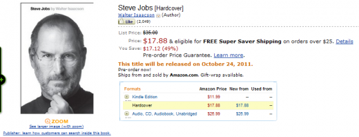 jobs biography amazon store 520x198 Kindle users getting theirs hands on Steve Jobs biography NOW
