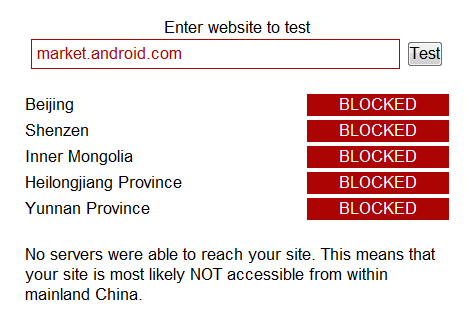 market android blocked Android Market blocked in China again   but for how long?