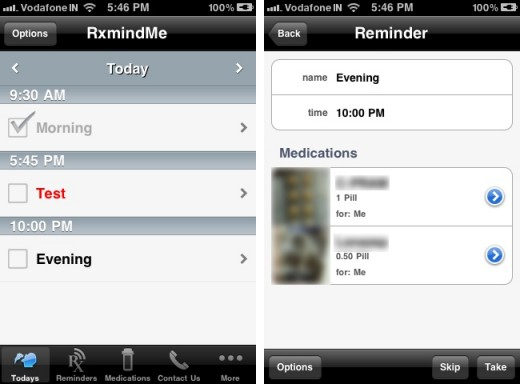 rxmindme 2 520x384 RxmindMe for iPhone is the ideal app to help you take your pills on time