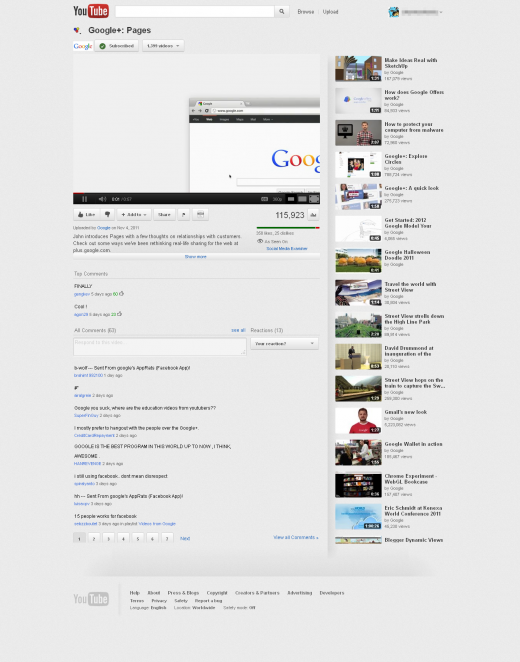 6 video page 520x662 YouTube tests redesign highlighting Google+ videos, subscriptions & more