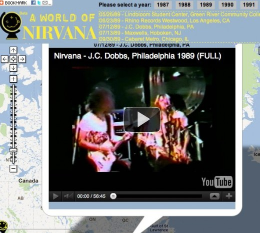 A World of Nirvana Nirvana the band Live Videos on Map 1 520x465 This site smells like A World Of Nirvana