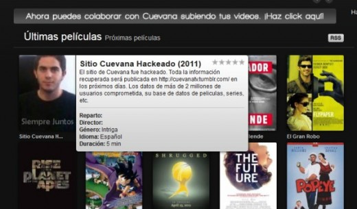 Cuevana Hacked 520x305 Is the Argentine online video website Cuevana the new Napster?
