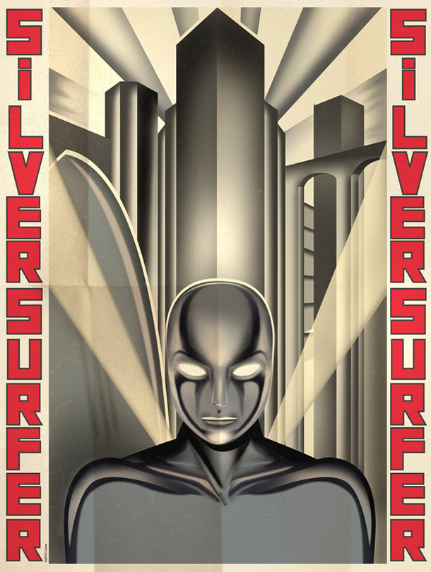 Decorate your geeky lair with these cool Art Deco superhero posters