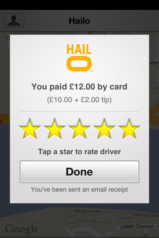 Hailo Passenger Rate Driver 520x780 Hailo: This mobile app could change the way you book taxis forever