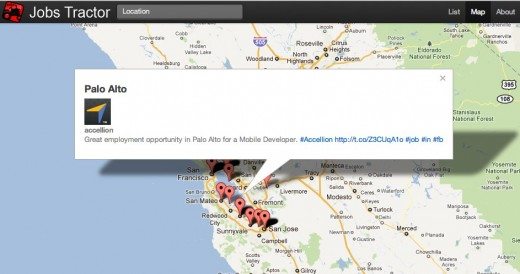 Jobs Tractor Map 520x274 Jobs Tractor checks Twitter for developer jobs so you dont have to