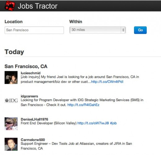 Local jobs for Developers Jobs Tractor 520x501 Jobs Tractor checks Twitter for developer jobs so you dont have to