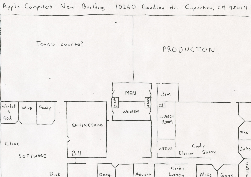 Check out this cool hand-drawn floorplan of Apple's 1978 offices