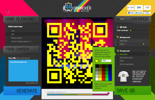 Screen Shot 2011 11 13 at 10.43.23 520x335 Create personalized QR codes with the fast and fun QRhacker