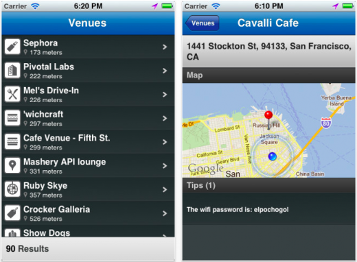 Screen Shot 2011 11 13 at 11.52.19 520x382 Find the passwords for nearby WiFi hotspots, with 4sqwifi for the iPhone
