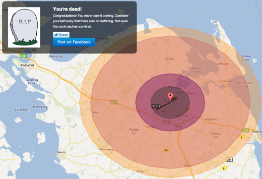 Screen Shot 2011 11 13 at 13.41.07 520x355 Would you survive a nuclear bomb? This site has the answer.