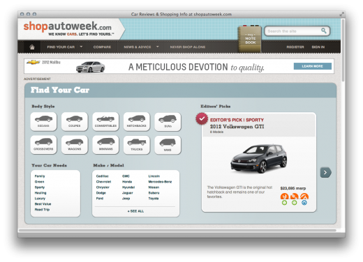 Screen Shot 2011 11 19 at 7.18.29 AM 520x376 ShopAutoWeek   How a 53 year old magazine bootstrapped a car buying startup