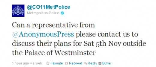 Twitter CO11MetPolice  520x224 The UKs Met. Police reaches out to Anonymous on Twitter about November 5th plans