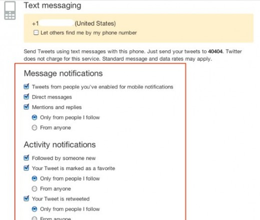 Twitter adds more SMS notification options
