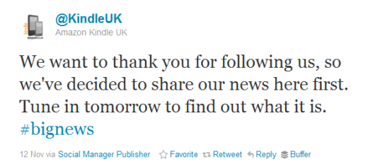 Twitter KindleUK 520x232 Amazon launches Kindle Daily Deal for UK readers