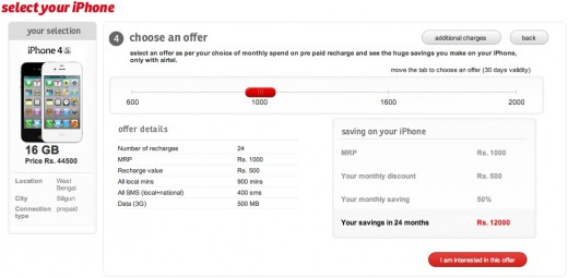 airtel iphone tariff plans india 520x255 iPhone 4S tariffs in India are as expensive as the phone itself