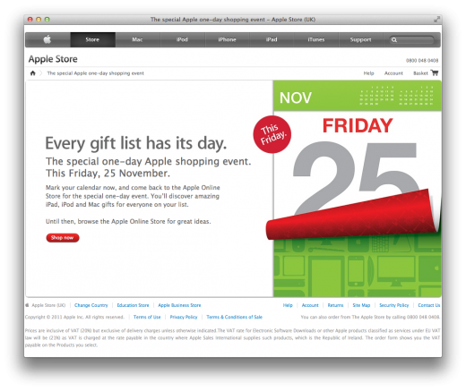 apple black friday sale 2011 520x437 Apple announces Black Friday sale on online stores worldwide