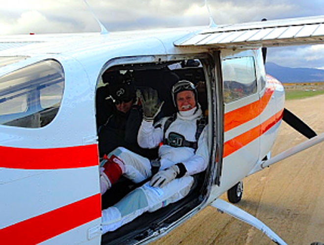For this man's 80th birthday, he jumped out of a plane 80 times in only 7 hours