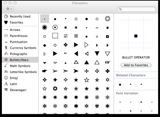 mac keyboard shortcuts symbols dot