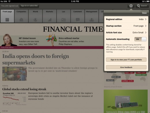 financial times india ipad web app frontpage 520x390 The Financial Times brings its iOS only Web app to India