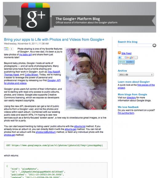 googlephotoblog 520x579 Google accidentally announces Google+ Photo and Video APIs too early