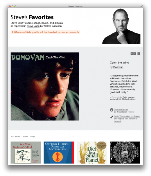 steves favs 520x606 Buy Steve Jobs' favourite books and music to donate to cancer research