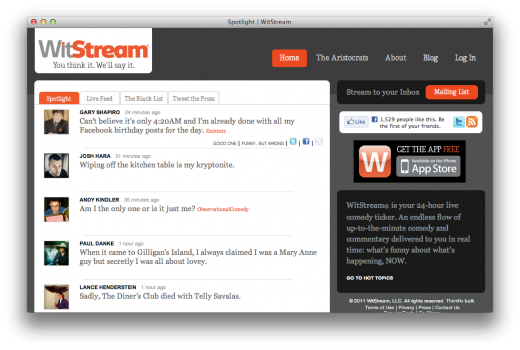 witstream web app 520x350 WitStream Finds the Funniest Tweets So You Don't Have to