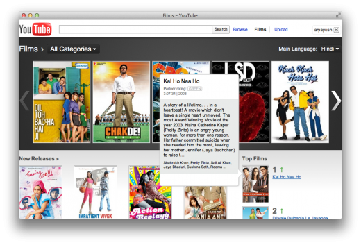 youtube movies india 520x353 Google shows off 1,500 Indian films with redesigned YouTube Movies page