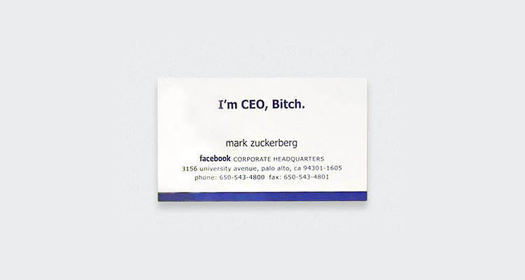 Facebook Mark Zuckerberg Business Card Digital Business Cards? Dont hold your breath...