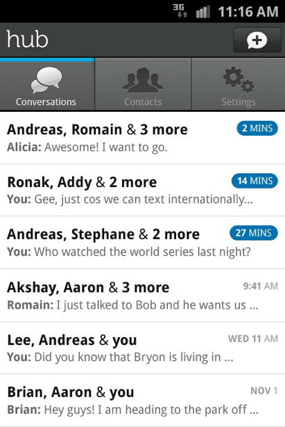 Screen Shot 2011 12 06 at 08.30.54 Yahoo Hub brings group messaging, free SMS conferencing to Android devices