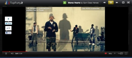 Stereo Hearts by Gym Class Heroes on TopForty.it The Top 40 Songs on Twitter NowPlaying 520x229 Nobody listens to the radio, heres a Top 40 for the Twitter age