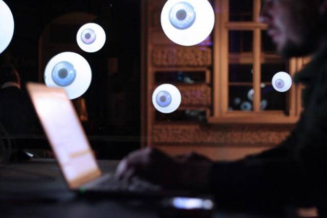 This Arduino installation has eyeballs that watch as you walk by
