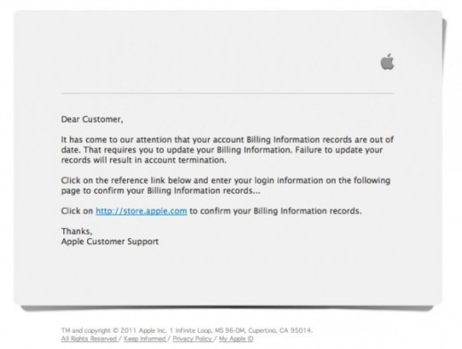 apple phishing 600x454 520x393 Christmas day phishing scam hopes to capitalize on new Apple product owners