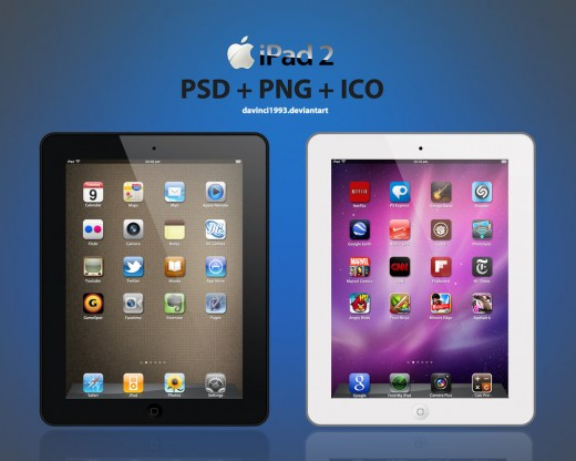 apple ipad 2 psd png ico by davinci1993 d3aiovh 520x416 13 iPhone, Android and Nokia PSDs for killer mobile mockups