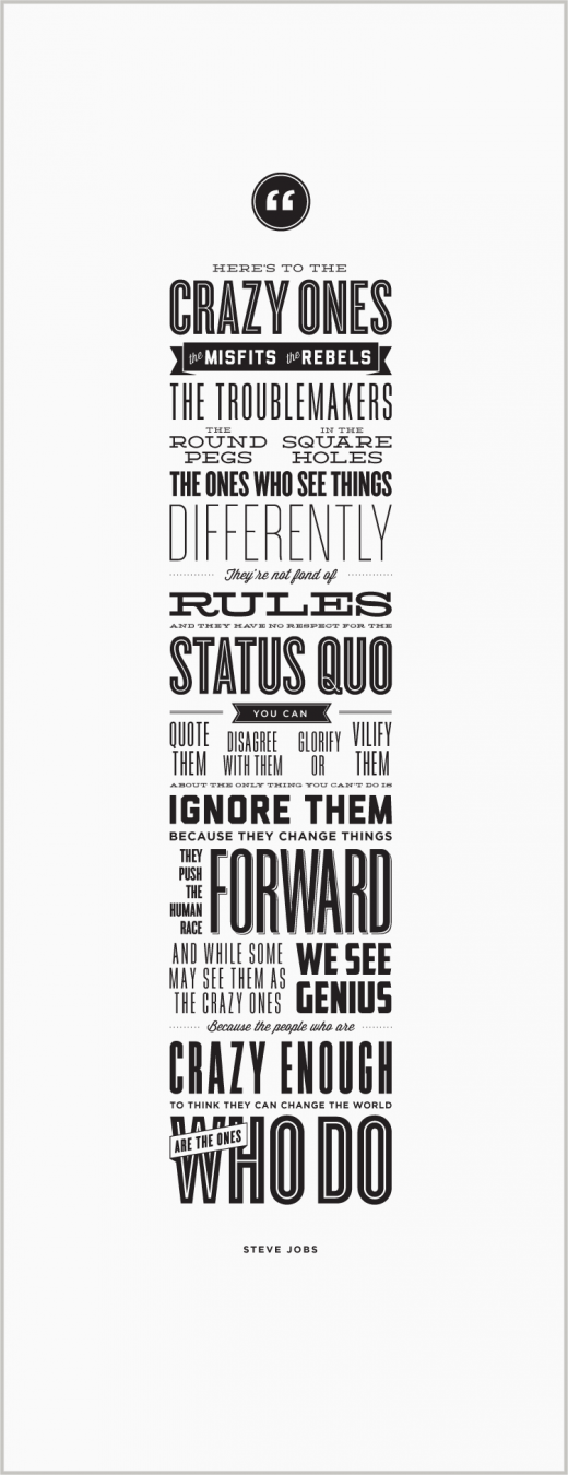 crazyones poster 520x1350 Heres to the crazy ones gets its own beautiful, letterpress poster to benefit charity