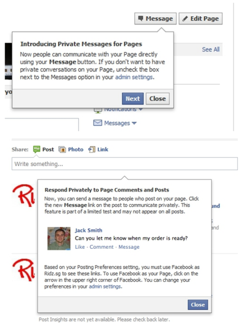 facebookprivatemessage 1 Facebook introduces private messages between business pages and fans