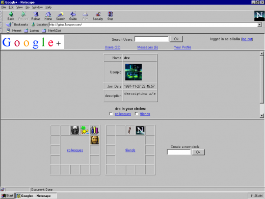 gplus 04 520x390 Check out how Facebook, Google+ and YouTube would have looked & worked in 1997