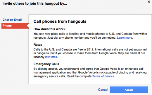 hangouts voice call us and canada 520x327 Now you can call phone numbers from inside Google+ Hangouts