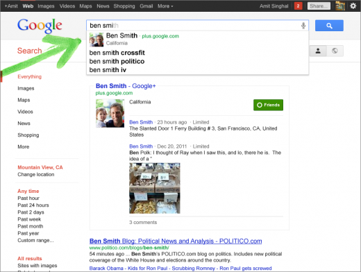 07 ben smith suggest 520x392 Google Search just got whole lot more social, with Google+ features and more