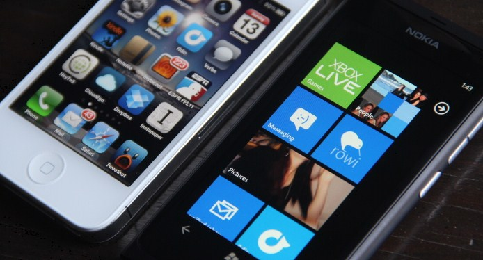 Nokia Lumia 800 next to iPhone 4S