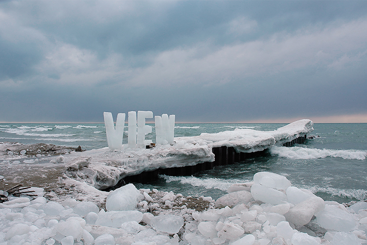 Giant ice typography on the shores of Lake Ontario